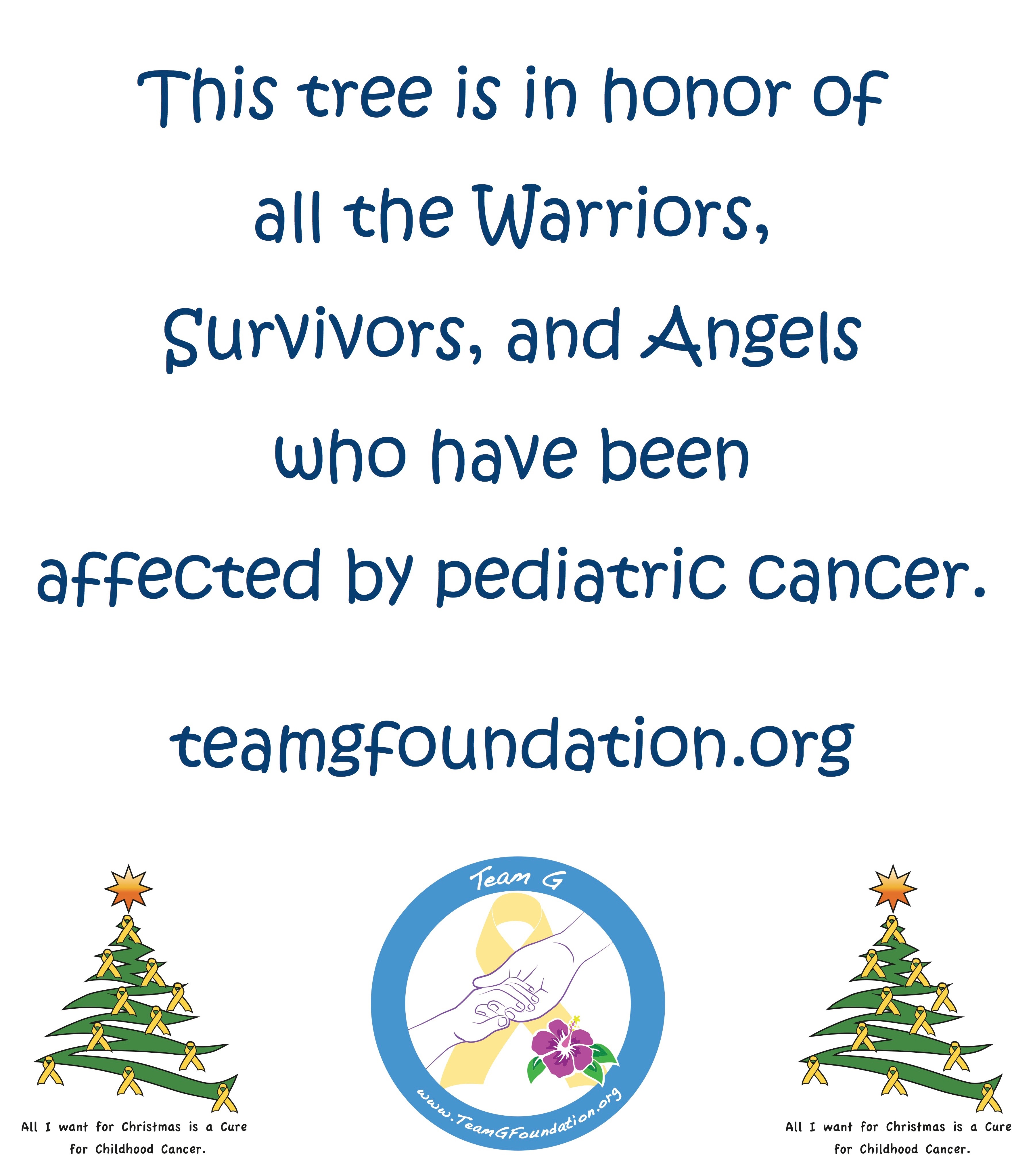 Tree of Honor Form | Team G Childhood Cancer Foundation